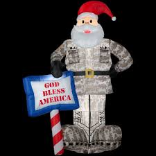 gemmy 7 ft inflatable military santa 89127 the home depot