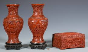 Cinnabar Vases July 30 2016 Historic Southern Summer Auction Case Antiques