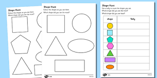 shape hunt worksheet numeracy geometry shapes 2d shape