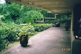 fallingwater pictures guest house front walk u0026 trellis canopied