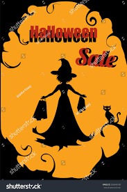 halloween sale advertising woman witch costume stock vector