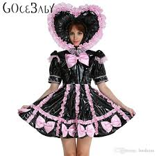 Maid Halloween Costume Custom Baby Sissy Maid Lockable Pvc Sweet Heart Black
