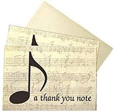 boxed set of musical themed thank you note