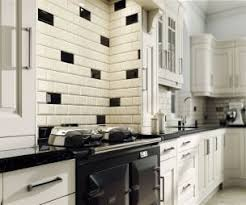 Johnson Kitchen Tiles - use our bevel brick tiles in black and cream in your kitchen to