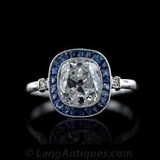 2 45 carat art deco antique cushion cut diamond ring