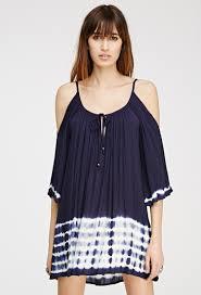 forever 21 tie dye open shoulder shift dress in blue lyst