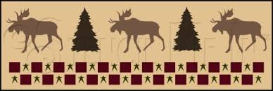 rustic lodge moose wall border stencil