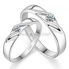 engagement rings set custom engravable silver cubic zirconia engagement rings set