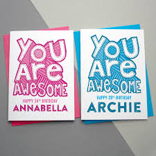 you are awesome personalised birthday card by a is for alphabet