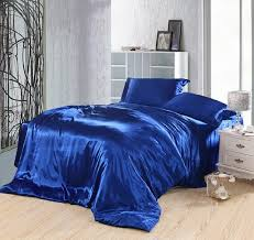 Velvet Comforters King Size Royal Blue Bedding Set Silk Fitted Bed Sheets Satin Super King