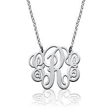 monogram necklace pendant fancy 925 sterling silver personalized monogram
