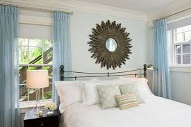 Bedroom Crown Molding Sunburst Mirror Bedroom Contemporary With Bedside Table Blue Wall