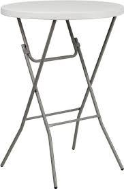 standing height folding table amazon com flash furniture 32 round granite white plastic bar