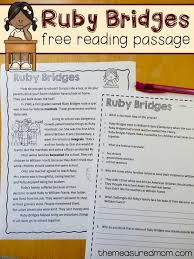 free reading comprehension passage a ruby bridges worksheet