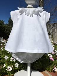 girls white linen baptism dress baby christening infant