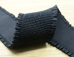 shirring elastic 2 inch 50mm wide soft ruffled black elastic band shirring