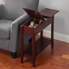 Vintage Living Room Side Tables Sofas Center Brown Polished Wooden Narrow Side Tables With