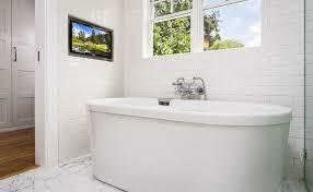 Tub Faucet Wall Mount Tv Niche Transitional Bathroom Robert Frank Design