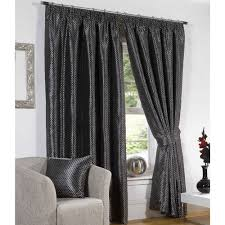 sicily lined ready made pencil pleat tape top curtains by sundour in black chocolate duck egg