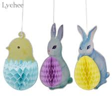 rabbit party supplies lychee 3pcs paper honeycomb lanterns easter party supplies bunny