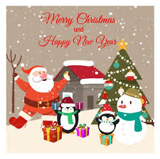 card design with penguins and santa claus vectors stock