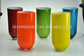 Modern Glass Vase Cheap Tall Cylinder Tube Murano Glass Vase Wholesale Yellow Orange