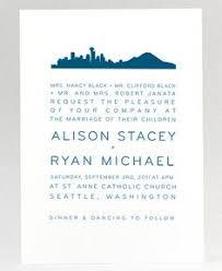 seattle cityscape signature white wedding invitations in suede
