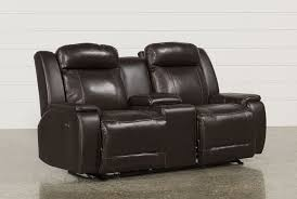 Leather Loveseats Hartman Leather Power Wallaway Loveseat W Console Living Spaces