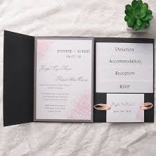 cheap blush pink flower black pocket wedding invitations