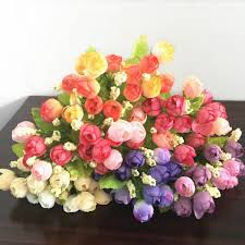 Flowers For Home Decor by Colorful Silk Flowers Artificial Flower 15 Heads Mini Rose Home