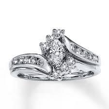 bridal set 1 2 ct tw marquise cut 14k white gold - Marquise Cut Wedding Set