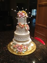 wedding cake gum ivory wedding cake with gumpaste flowers cakecentral