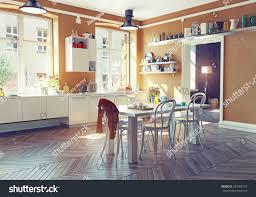 Modern Kitchen Interior Design Modern Kitchen Interior 3d Render Concept Stock Illustration