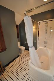L Shaped Bathroom Vanity by L Shaped Shower Bathroom Traditional With Black And White Floor