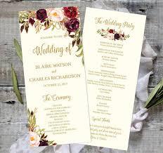 rustic wedding program templates wedding program template printable editable 4x9 fall floral