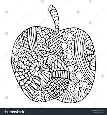 apple zentangle pattern coloring book stock vector 367795748