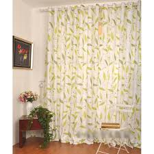 white and green leaf eco friendly dining room curtains ideas