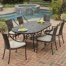 Patio Furniture 7 Piece Dining Set - shop home styles stone harbor 7 piece slate patio dining set at