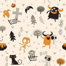 halloween theme pattern cute skeletons and monsters in the forest