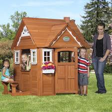 outdoor wooden cedar cottage play house for kids backyard