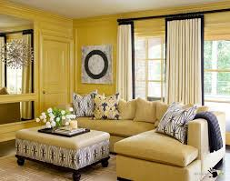 Yellow Sectional Sofa Mild Yellow Wall Color Decorates An Open Living Space With Brown