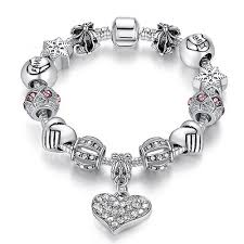 crystal charm bracelet beads images Unique silver crystal charm bracelet women diy beads bracelets jpg