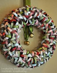 wreath made from scrapbook paper paper i used basic grey and