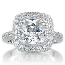cushion cut engagement ring vintage style halo cushion cut cz engagement ring jewelry