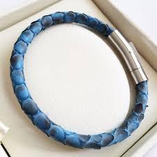 blue leather bracelet images Luxury python leather bracelet with silver magnet python genuine jpg
