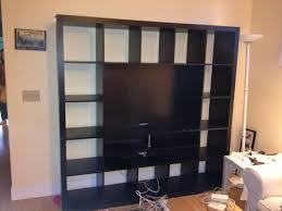 bookshelves units square black wooden shelving units and rectangle black led tv on