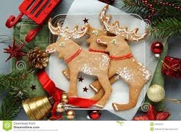 homemade christmas elk shaped cookies with christmas decoration