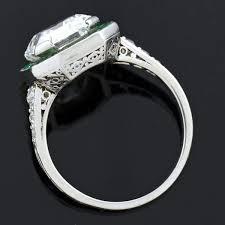 art deco platinum colorless asscher cut diamond u0026 emerald ring