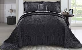 Gold Quilted Bedspread Amazon Com Serenta Quilted Satin 4 Piece Bedspread Set King