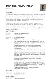 Restaurant Manager Sample Resume Best Solutions Of Sample Resume For Food And Beverage Supervisor